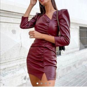 Faux leather burgundy dress w/ slit + puff sleeve